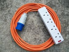 15m CAMPING ELECTRIC HOOK UP 15 METRE  WITH 4 WAY SOCKET AND NEON LIGHT