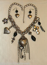Chunky Dangling Heart, Cross, Key, Etc Charm Necklace & Pierced Earrings NWT