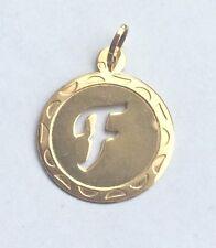 Anhänger rund mit Buchstaben F Gold 585 Gelbgold 14K