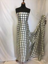 "NEW Designer 100% Silk Satin Chiffon Check Burnout Print Fabric Dress Scarf 54"""