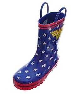 Wonder Woman Girls' Rubber Rain Boots - Royal Blue