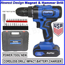 21V Cordless Drill Driver Battery Set & LED Screwdriver Tail Hammer Magnet Gun
