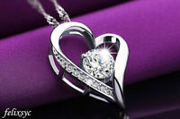 Crystal Heart Pendant 925 Sterling Silver Necklace Chain Women Jewellery Gift UK