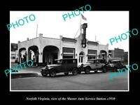 OLD LARGE HISTORIC PHOTO OF NORFOLK VIRGINIA MASTERS AUTO SERVICE STATION c1930