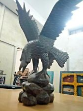 19th Century Carved and Turned Ebonized Wooden Eagle Architectural Ornament //