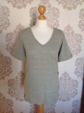 Ladies Grey V Neck Ribbed T Shirt Top Size Large