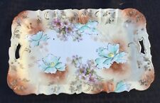 "UM RS PRUSSIA DRESSER TRAY WITH MIXED FLORAL DESIGN ""FOUR POPPIES"""