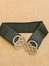 DOROTHY PERKINS black mock croc /silver elasticated belt  Size S