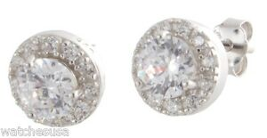 Sterling Silver White CZ Stones 9mm Round Stud Women's Earrings