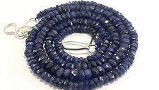 100%NATURAL BLUE SAPPHIRE ROUND FACETED BEADS  NECKLACE 70. CTS 3-5MM NECKLACE