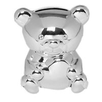 Silver Plated Money Box Teddy Baby Unisex Christening Baby Shower Childrens Gift