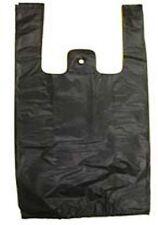"1300 pcs 6x4x15"" 11micron Black T-Shirt plastic Bag Grocery Retail Shopping Bags"