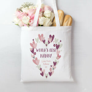 Personalised printed white tote bag Best Nanny Mum Heart Wreath Mothers Day gift