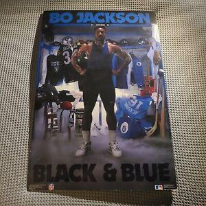 "Original Costacos 1989 Bo Jackson NFL MLB Poster ""BLACK & BLUE"" 24 x 36 Mounted!"