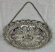 "Vintage Turkish Bedo Silver Hanging Mirror 10"" x 7"" Was brought f (BI#MK/180424)"