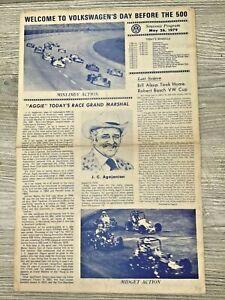 Souvenir Program Volkswagen Day Before Indianapolis 500 1979 Indy 500