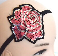 NEW Baby pink large sequin rose black stretch bandeaux browband hair fashion