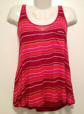 Women's Colourful Striped Stretch Draped Loose Tank Top Cami Size 10