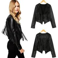 Women's Tassels PU Leather Punk Biker Jacket Motorcycle Coat Blazer Outwear NEW