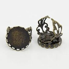 5pcs Brass Filigree Ring Components Vintage Bronze Blank Tray Cabochon Setting