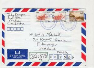 CAMBODIA: 1999 Air Mail cover to Scotland (C47015)