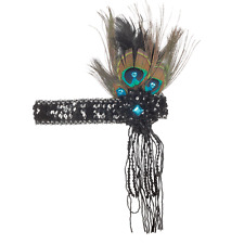 Roaring 20's Flapper Headband Peacock Black Feather Beads Sequin Sparkle Hair
