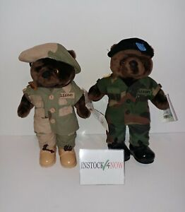 """Lot of 2 US ARMY Bear Forces of America 10"""" ARMY DESERT + ARMY BDU"""