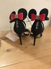 BNWT Primark Minnie Mouse Heels Disney Black High Red Bow Shoes UK 6