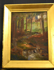 Framed European Oil on Canvas Board Leat Gate on Stream with Tudor Behind Trees