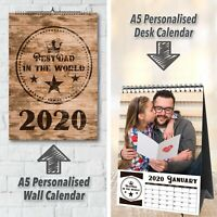 Personalized 12 Month Wall//Desk Calendar with wording /& photos2020A5