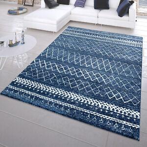 Moderner Kurzflor Teppich Maritim Look Batik Zick Zack Design In Blau