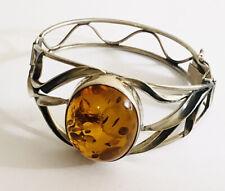 Vintage Sterling Silver Amber Bangle , Heavy ,925