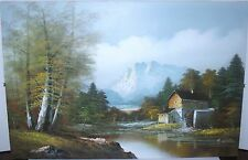 H. WILSON Vintage Oil Painting on Canvas, OLD SUGAR MILL, WATER WHEEL, MOUNTAINS