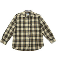 Columbia Shirt Mens Size L Large Brown Plaid Long Sleeve Button Front