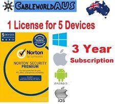 Symantec Norton Security PREMIUM 5 Devices 3 year Windows Mac Android ID KEY