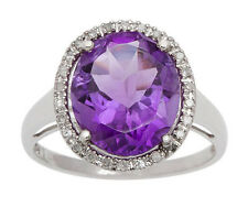 10k White Gold Oval 5.20ct Amethyst and Diamond Halo Ring (G-H, I1-I2)