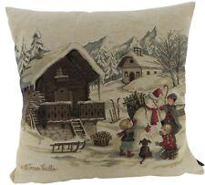 Kissenbezug Vintage Winter Kinder Schneemann Dekokissen Nostalgie Kissen 45x45