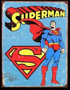 "Distressed Comic Book Tin Sign (Metal) DC Superman 12.5 x 16"" / New"