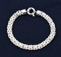 "7.5mm Classic Byzantine Link Bracelet Real Sterling Silver 925 7.5"""