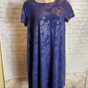 LULAROE Blue Floral Carly Dress Plus Size 2X