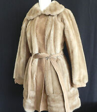 Vtg London Leather by Lilli Ann Coat Size S/M Suede Leather Faux Fur Knee Length