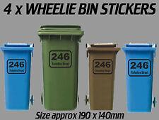 4 x Wheelie Bin Numbers Printed Custom Black House Number Road Street Sticker