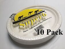 500pcs Party Plastic Disposable White Oval Plates XL 310 x 250mm 100% Brand New