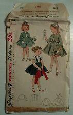 VINTAGE 1951, SIMPLICITY #3782 SIZE 6 GIRLS' BOLERO, PETTICOAT & SKIRT PATTERN