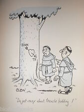 """CLIFFORD C LEWIS """"CLEW"""" Original Pen & Ink Cartoon - Monk Carving on Tree #437"""