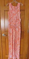 Nwt Calvin Klein Orange & Ivory Print Elastic Waist  Jersey Jumpsuit..10