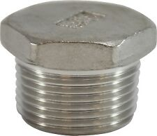 """High Pressure 3/8"""" NPT 316 Stainless Hex Solid Pipe Plug Qty 50pcs"""