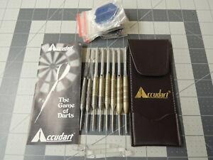 Lot of Vintage Accudart - 8 Weighted Steel Tip Darts, 15 Flights, Holder & Book