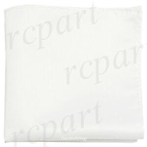 New formal Brand Q satin polyester pocket square hankie only white wedding prom
