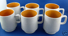 RARE Retro TEETIME Japan (6 Pc) PORCELANA WARE Mugs Set VG Coffee Collectable